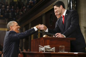 WASHINGTON, DC - JANUARY 12: President Barack Obama shakes hands with Speaker of the House Paul Ryan (R) as Vice President Joe Biden looks on before the State of the Union address to a joint session of Congress on Capitol Hill January 12, 2016 in Washington, D.C. In his final State of the Union, President Obama is expected to reflect on the past seven years in office and speak on topics including climate change, gun control, immigration and income inequality. (Photo by Evan Vucci - Pool/Getty Images)