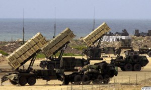 Patriot missile batteries are being prepared in Jaffa, south of Tel Aviv, Friday, March 21, 2003. Patriot missiles are to be used against Iraqi ballistic missles in case of an attack. (AP Photo / Darko Bandic)