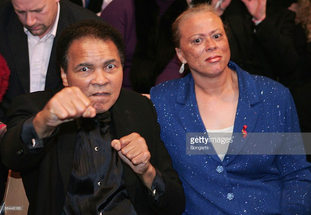 BERLIN - DECEMBER 17: Muhammad Ali and his wife, Lonnie Ali sit ringside uring the Super Middleweight fight between Laila Ali and Asa Maria Sandell at the Max-Schmeling Hall on December 17, 2005 in Berlin, Germany. (Photo by Martin Rose/Bongarts/Getty Images) *** Local Caption *** Muhammad Ali;Lonnie Ali
